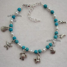 """Turquoise 9 - 9.99"""" Length Costume Anklets"""