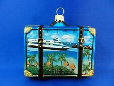 Caribbean Travel Suitcase Cruise Ship Glass Christmas Tree Ornament 011089