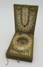 Antique 18th Century European Dyptich Sundial & Compass in Fruitwood and Paper