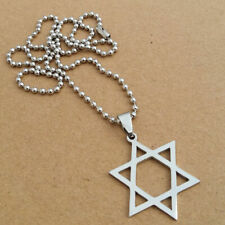 Titanium Steel Pendant Star of David Necklace Hexagram Silver Plated Chain