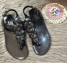 Coach Haylee Black Jelly Floral Flower Strap Slingbacks Sandals Size 7B Rubber