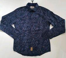 Petrol dunkles Herren Hemd Jeans Denim gemustert bl./braun Cotton Neu L 59,95€