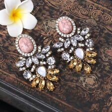 1pair Women Vintage Loyal Champagne Tear Drop Crack Dangle Statement Earrings