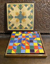 More details for antique/vintage wooden building blocks set - antique toy in original box