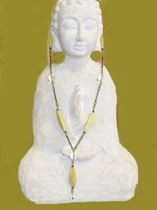 "Vintage Jan Michaels Crystal & Serpentine Drop Necklace Bronze Plated Metal 30"""