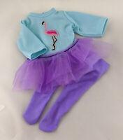 MY FIRST BABY ANNABELL PURPLE DOLL CLOTHES FLAMINGO BALLERINA TUTU DRESS SET