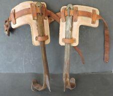Vintage Leather Steel Adjustable Pole Tree Climbing Spikes Safety Test Inc