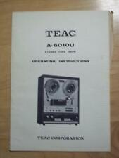 Original Owner / User  Manual for the Teac A-6010U Reel Tape Deck ~ Schematic