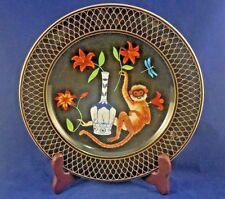 "Lynn Chase MONKEY GARDEN Salad Plate 9 1/8"" (ORANGE FLOWER)"