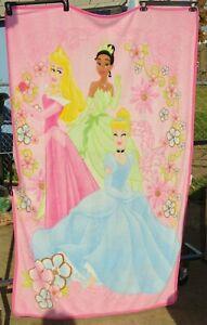 "Disney Princess Cinderella Tiana Aurora Throw Blanket 45""x 64"" soft 2011"