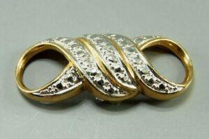 14K YELLOW GOLD Over Sterling ROSS SIMONS Infinity Twist DIAMOND SLIDE PENDANT