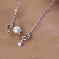 16.5'' Solid 925 Sterling Silver Necklace Natural Freshwater Pearl Pendant Love
