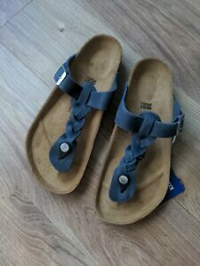 Birkenstock Braided Oiled Blue Leather Gizeh Sandals EU 38 Womens 7-7.5 Navy