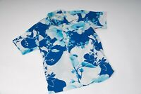 ANDRADE Vintage Hawaiian Aloha Mens Shirt-Blue/White Floral-70's? Made in Hawaii