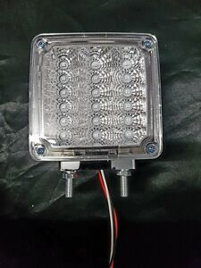 """4"""" Square 2 Post LED Indicator Light Clear/Amber to suit WS,Kenworth and Mack"""