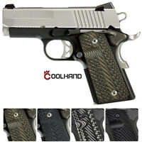 Coolhand 1911 Compact Officer Size G10 Grips Mag Release Cut OPS Texture H2-J1