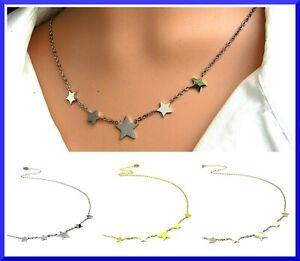 Collana da donna girocollo in acciaio inox con stelle stelline catena argento a