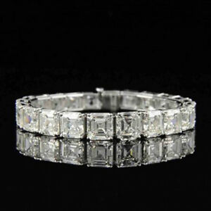 "VALENTINE Free Gift Stud 15ct Asscher Cut Sim Diamond Mens Tennis Bracelet 8"""