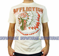 AFFLICTION Sitting Bull A12432 Men`s New Dirty White T-shirt