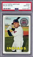 2018 Topps Heritage Card Indians Star RAJAI DAVIS PSA Gem MINT 10 - Low Pop 2