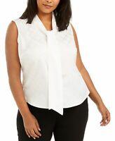 Calvin Klein Womens Blouse White Size 1X Plus Printed Button-Front $69 084