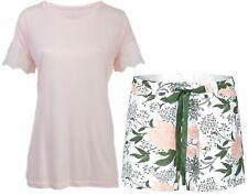 By Louise Damen Pyjama kurz Schlafanzug Nachtwäsche rosa weiß grün floral Spitze
