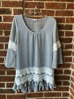 Jodifl Women's Shirt Top White Blue Sheer Tunic Crochet Detail Bell Sleeves Sz.S
