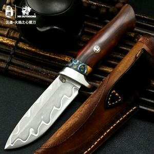 Handmade Drop Point Knife Hunting Combat Tactical Damascus Steel Wood Handle Cut