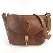 Vintage Handmade Brown Leather Satchel Shoulder Boho Saddle Crossbody Bag