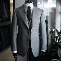 Mens Suits Vintage Plaid Slim Fit Check Formal Business Tuxedos Blazer Pants