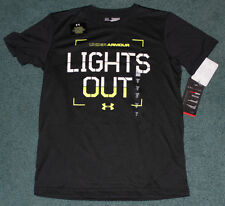 NWT Under Armour M Boys GLOW IN THE DARK Black/Neon Yellow LIGHTS OUT Shirt YMD
