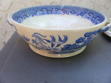 Antique Buffalo Pottery Vegetable Dish NO LID Willow Pattern Blue White TLC