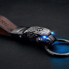 Black Panthera Blue Led Eye Cowhide Leather Strap Car keychain keyring Superb