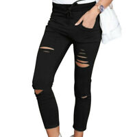 Skinny Ripped Pants High Waist Slim Pencil Cropped Trousers for Women Casual