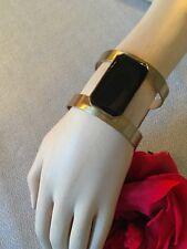 Bracelet ancien Année 70 Vintage Metal doré Cabochon carré noir Mode Faschion