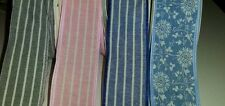1 yard 40mm wide NAVY, GREY, BLUE, PINK LINEN STRIPED FLOWERS FLORAL RIBBON TRIM