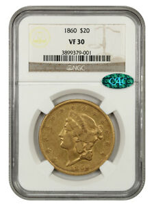 1860 $20 NGC/CAC VF30 - Liberty Double Eagle - Gold Coin