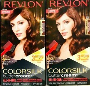 (2) Revlon Colorsilk Butter Cream 535 Medium Golden Mahogany Brown Hair Dye