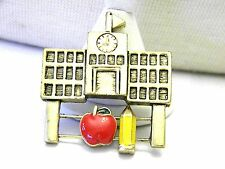 Adorable Sliding Pin Enamel Apple and Pencil School House Vintage Brooch Pin
