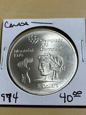 New Listing1974 Canada 5 Dollars Athlete with Torch Olympic Silver Commemorative Coin!