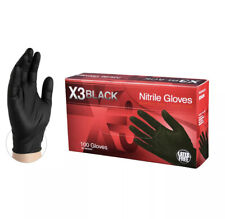 100 Count - AMMEX BX3 & GripStrong Black & Blue Nitrile Gloves Powder Free