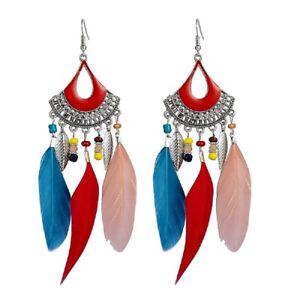 12.5cm Boho style multicoloured feather chandelier earrings
