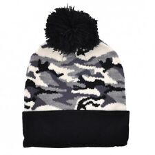 URBAN CAMO BOBBLE BEANIE SKI WINTER HAT NEW ARMY MILITARY CAMOUFLAGE GREY BLACK