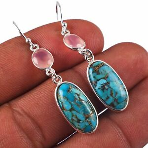 Copper Turquoise, Rose Quartz Solid 925 Sterling Silver Earring Jewelry AE-6311