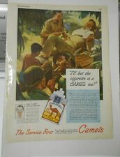 1940's WW 2 II CAMEL Cigarettes SOLDIERS War COLOR Ad Full Page 10x15