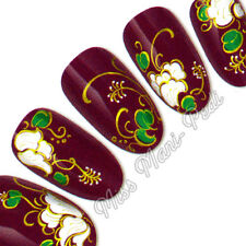 Nail Stickers Water Decals Transfers White Tropical Flowers Matt Gold Swirl H039