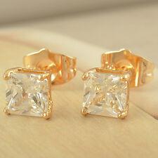 b6791fd3aa9a COOL 9K Gold Filled Flawless Cubic Zirconia Pair Unisex Stud Earrings