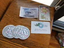 Antique Postcards Eye of Beholder + Vintage Happy New Year Paper Coasters