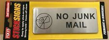 NO JUNK MAIL METAL SIGN SELF ADHESIVE STRONG DOOR WALL UNWANTED MAIL LETTER BOX