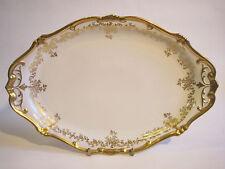 "Weimar Porcelain ""Katharina"" 14.5"" Oval Platter White Gold Encrusted Germany"